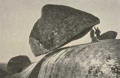 """Pedro Momini, """"Piedra Movediza"""" in Tandil, Buenos Aires province, Argentina, ca. 1900."""